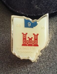 U.S. Army Corp of Engineers  pin badge Building for Tomorrow 1989 1990