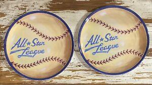 """(2) Pottery Barn Kids All Star Baseball Melamine Plates Dinner Ware 9"""""""