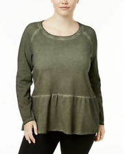 1x Style & Co Plus Size High-low Hem Ruffled Olive Green Top Sweater