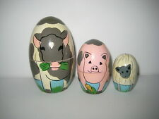Farm Animal Wood Nesting Dolls Cow Pig and Lamb