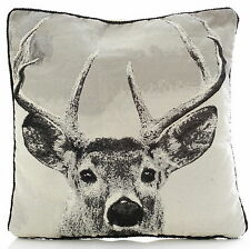 Stag Tapestry Grey & Black 18 Inch Cushion Cover Luxury Rope Piping RRP £8