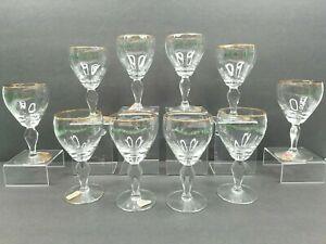 10 Irish Coffee Riekes Crisa Vintage Gold Rim Wine Glasses Stemware Bar Ware Set