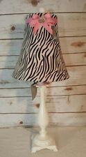 Zebra Tall Table Lamp Stripe Fabric Lampshade Black / White Rhinestone Crown
