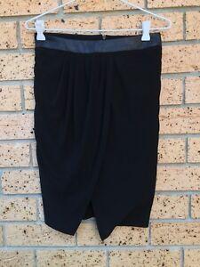 Zara woman black skirt sz Xs Wrap style front free post (lc1)