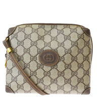 Authentic GUCCI GG Logos Cross Body Shoulder Bag PVC Leather Brown 30MG655