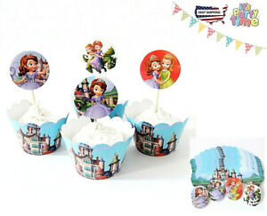 SOFIA THE FIRST birthday baby shower Cupcake Wrapper+Topper party favor =1 Dozen