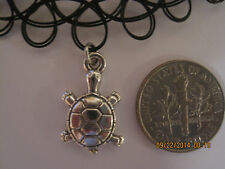 black stretchy tattoo choker necklece with Tibetan silver Lucky Turtle charm