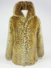 Womens Leopard Animal Print Faux Fur Coat Jacket Noriko Medium