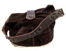 Tylie Malibu Bag Classic Utility Brown Suede Leather w/ Pyramid Stud Accents