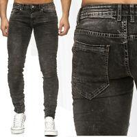 Jeans Hommes Pantalon Tapered Denim Vintage Usagé Lavé
