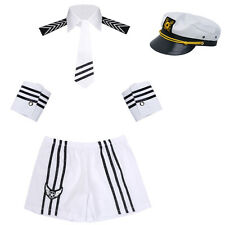 Adult Mens Sexy Sailor Navy Uniform Halloween Costume Outfit Cap Collar Tie Cuff