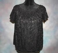 Maurices Women's Sz Medium Black Lace Lined Short Sleeve USA Made Blouse Top