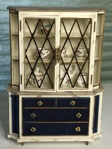Vintage Dollhouse Miniature IDEAL Plastic Hutch With Drawers + Porcelain Dishes