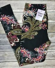 Paisley Leggings Brown Pink Abstract Floral Paisley Printed ONE SIZE OS