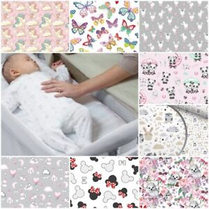 2x FITTED SHEETS compatible with CHICCO NEXT 2 ME crib bed cover GIRLS PINK GREY