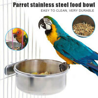 Stainless Steel Coop Cup Pet Parrots Food Feeder Macaw Water Bowl for Bird Cage#
