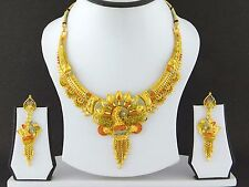 Indian Bollywood Fashion Jewelry Gold Plated Wedding Necklace Earring Party Set