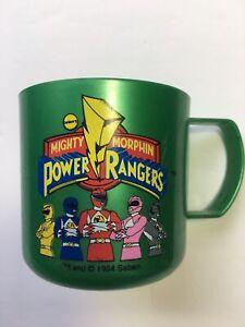 "Htf Vtg 90s Mighty Morphin Power Ranger Cup Green Handle Mug Saban & TM 2.75"""