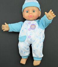 """2015 Uneeda Baby Doll 11"""" Blue Eyes Soft Toy Vinyl Cloth Body Mama Cries Sound"""
