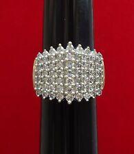 BOLD WIDE 10K YELLOW GOLD 9 ROW 1.19 TCW PYRAMID SHAPE DIAMOND RING - 8.6 GRAMS