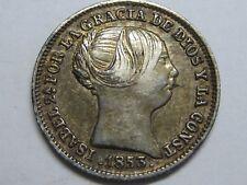 1853 MADRID 1 REAL SPAIN ISABEL II PLATA SPANISH PLATA SILVER ,