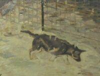 Vintage Oil Painting Country Folk Art Primitive Huskey Dog Hunting Fine Art