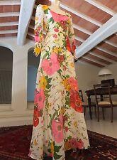 Stupendo Maxi Dress Vintage Originale Anni '70 Chiffon Floreale Tg 40 Ita - Uk 8