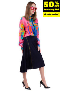 RRP €115 DKNY Flare Skirt Size 14 / L Unlined Pleated Contrast Stitching