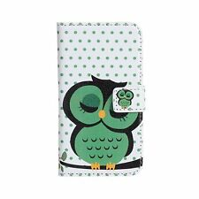 Sleep Owl Design Leather Wallet Cash Card Case Cover Stand for iPhone 4 4S