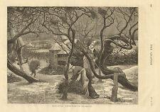 Harvest, Mistletoe, Normandy France, Agriculture, Vintage, 1876 Antique Print,