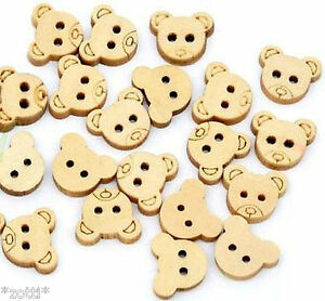 20 Bear Teddy Buttons 0 1/2in x 0 7/16in Wood 2 Holes Sewing Haberdashery