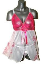 (S) Sexy Lingerie. see through White/Hot Pink Floral BabyDoll + matching Panty S