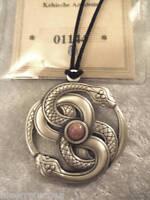 Keltisches Amulett Schlange Edelstein Rosen Quarz Rosenquarz Neu Zertifikat