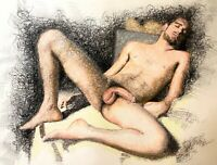Male Nude Figure Drawing Pastel on Paper Original Mixed Media Gay Queer