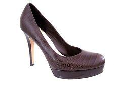 COLE HAAN Nike Air Chestnut Croc Print Leather MARIELA Platform Pump Size 9 1/2
