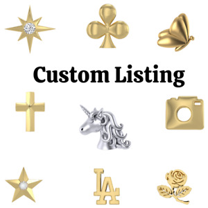 Luxurious Logo 18k Yellow Gold Over Solid 925 Sterling Tooth Gems Mix 5pc