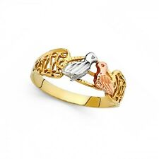 Love Birds Ring Solid 14k Yellow White Rose Gold Two Birds Kiss Band Filigree