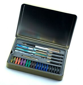 Staedtler Calligraphy Set 4 Pens 5 Nibs 20 Ink Cartridges Metal Pump Metal Tin
