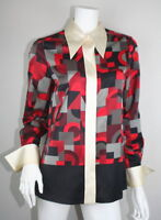 Marc Jacobs Ivory Black Red Gray Wool Silk Long Sleeve Button Down Blouse 8 M MD
