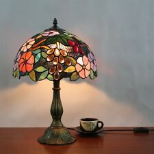 "12"" Vintage Retro Floral Tiffany Table Light w/ Stained Glass Lamp Shade Grape"