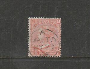 Malta GB Used in 1859/84 4d Vermillion Pl 7 Malta CDS EMME, SG Z49