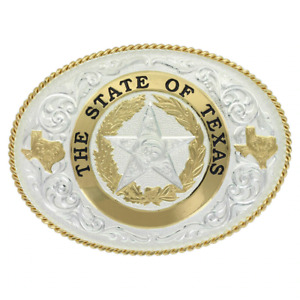 MONTANA SILVERSMITHS STATE OF TEXAS STAR SEAL - ACC BUCKLE - 61374