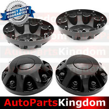 "11-17 Chevy Silverado DUALLY Model BLACK 17"" 2x Front Wheel Center Hub Cap Cover"