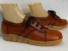 9.5 B Nos Vtg 1970s Platform Sebago Shoe Wedge Heel Brown Leather Oxford Usa