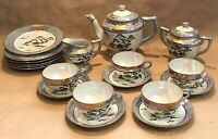 20pc Japanese TEA SET Hand Paint Cups/Saucers/Creamer/Sugar Bowl/teapot/plates