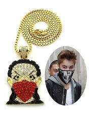 MENS ICED OUT HIP HOP GOLD BANDANA COVERED FACE MAN PENDANT BOX CHAIN NECKLACE