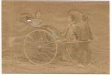 19th Century Albumen Print of Japanese Women in Man-Drawn Carriage - Japan Photo