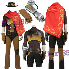HOT Game Jesse Mccree Cosplay Costume Full Suit with Hat Customized High Quality