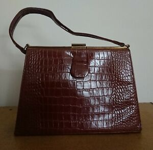 Vintage 1960s Brown Reptile Skin Leather Kelly/Queen Mother Bag by Saxone.