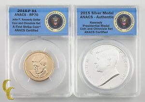 2015 Kennedy Coin & Chronicle Set: Dollar & Silver Medal ANACS Graded RP-70